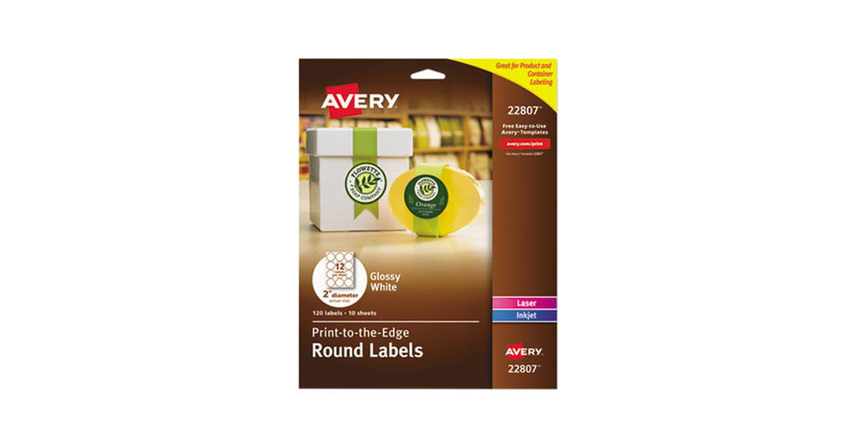 Avery 22807 Easy Peel 2 True Print White Glossy Round Print To The
