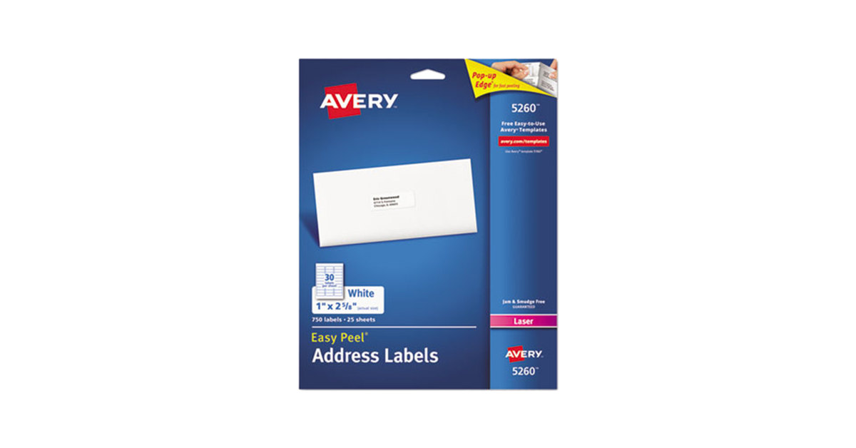 avery 5260 easy peel 1 x 2 58 printable mailing address labels 750pack