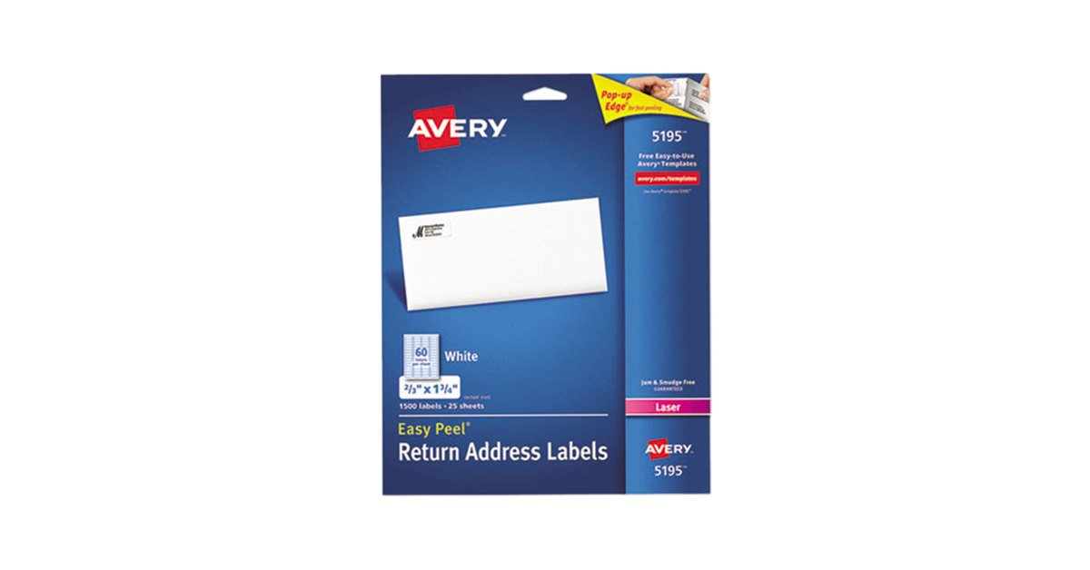 Avery 5195 Easy Peel 23 X 1 34 Printable Return Address Labels
