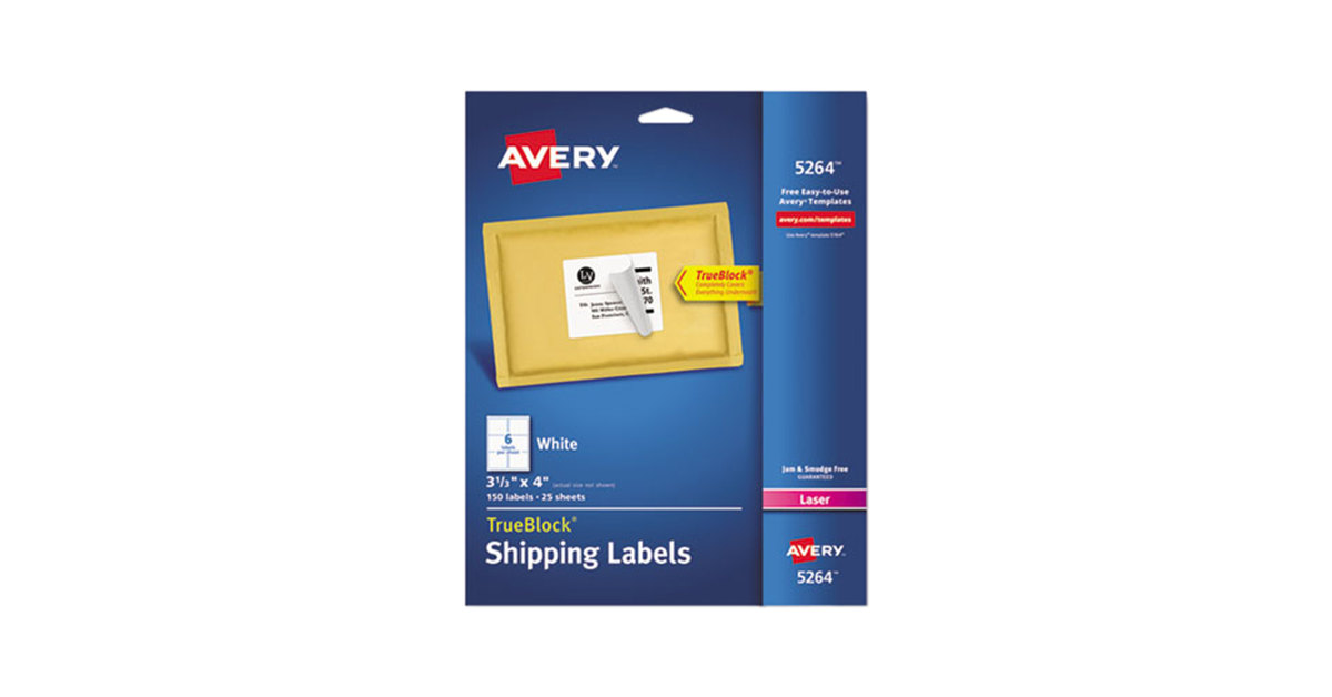 Avery 5264 Trueblock 3 13 X 4 White Shipping Labels 150pack
