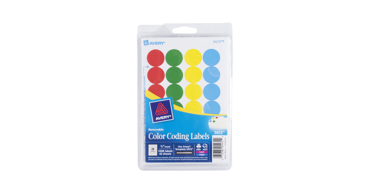 avery 05472 34 assorted colors round removable write on printable labels 1008pack - Avery Colored Labels