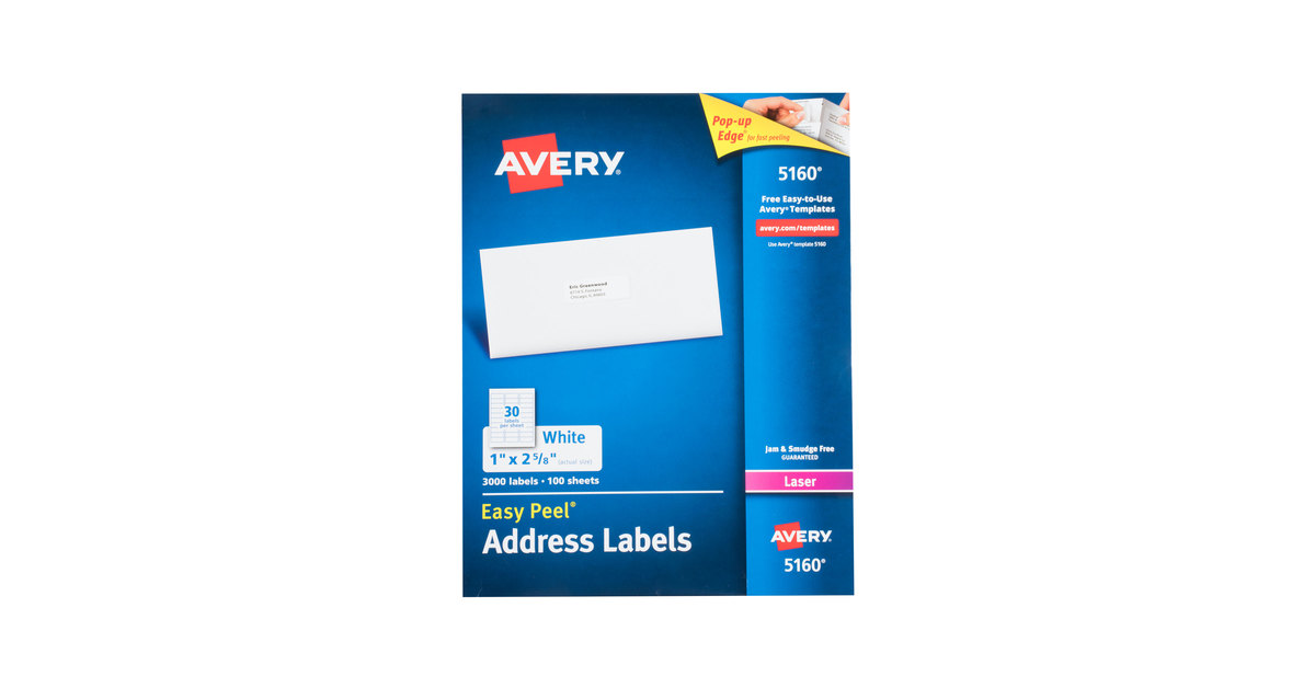 avery 5160 1 x 2 5 8 white easy peel mailing address labels 3000 box