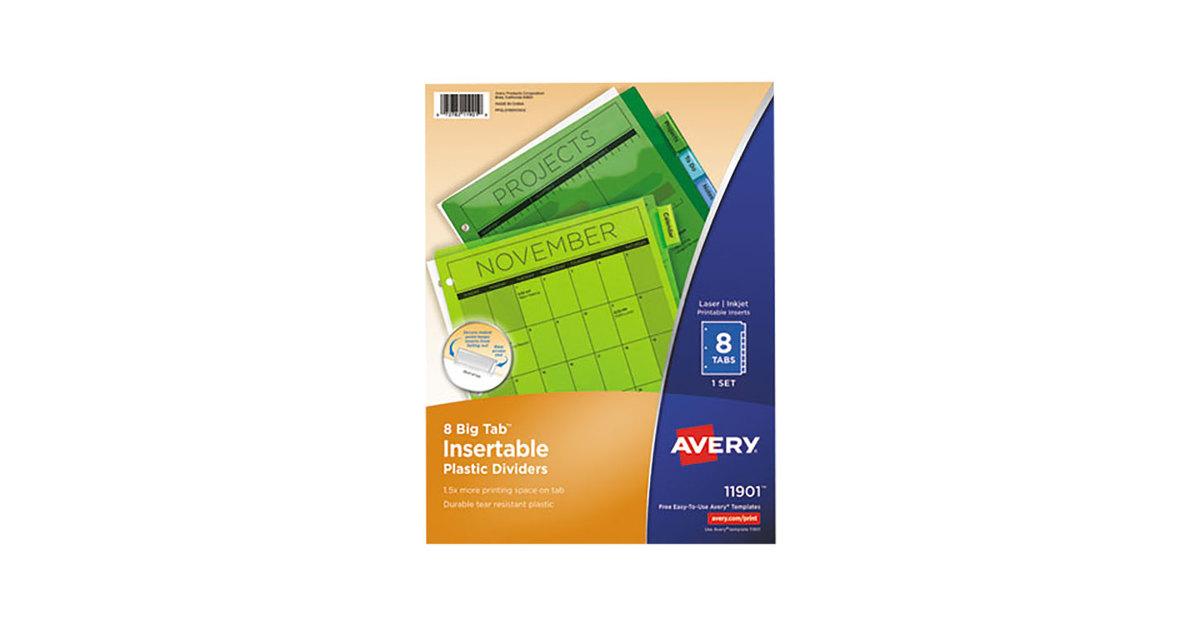 Avery 11901 Big Tab 8 Tab Insertable Multi Color Plastic Dividers