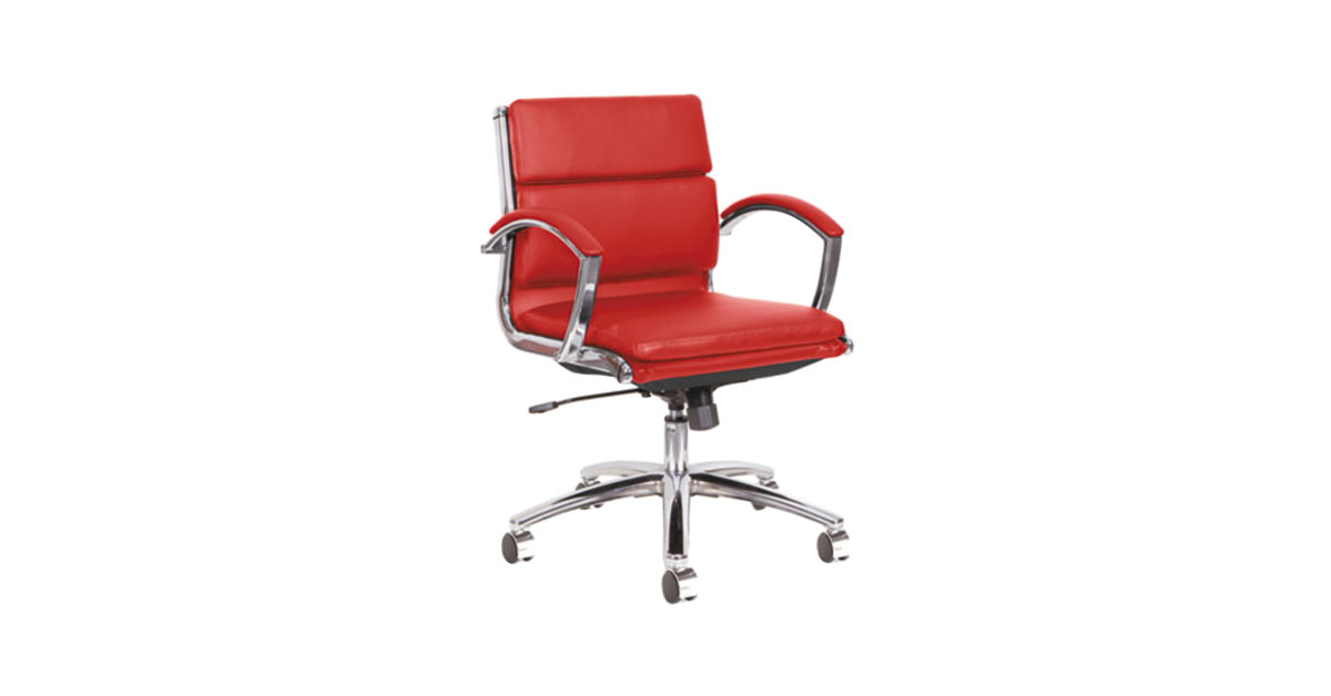 Alera Alenr4739 Neratoli Low Back Red Leather Office Chair With Fixed Arms And Chrome Swivel Base