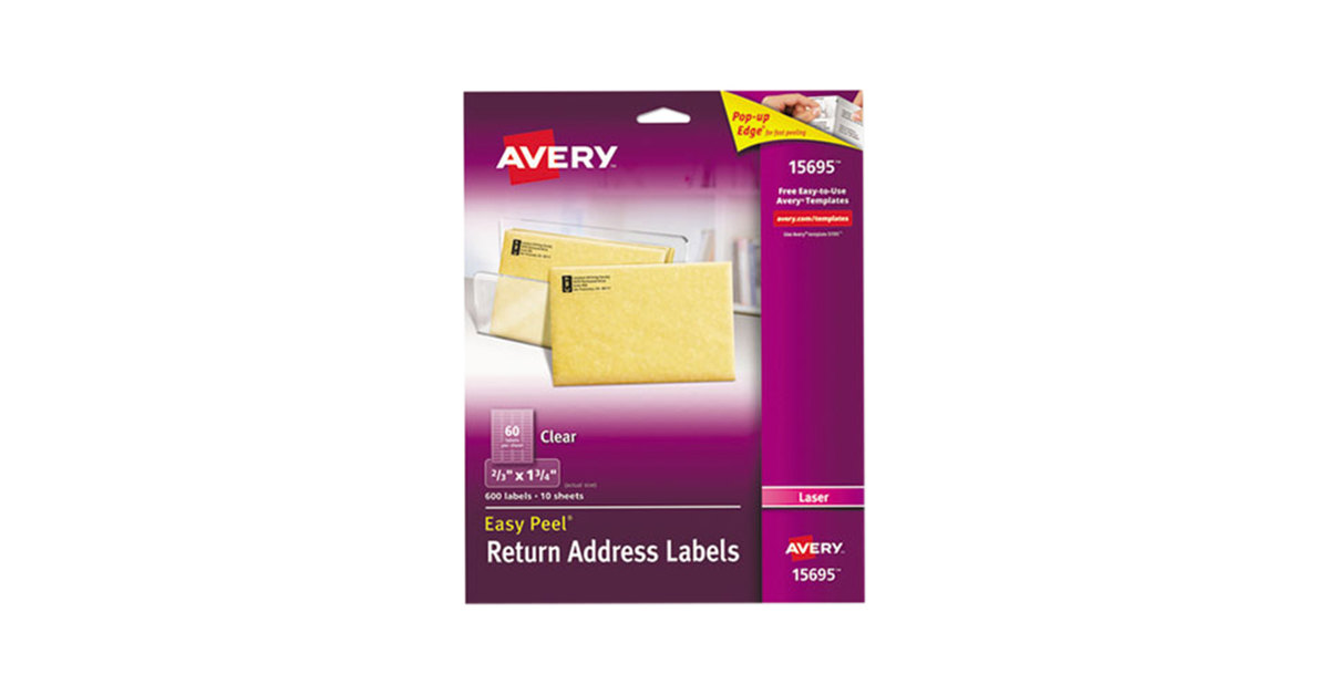 Avery 15695 Easy Peel 23 X 1 34 Clear Laser Printer Return