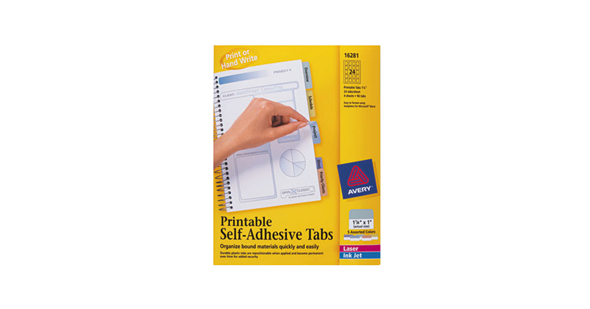 Avery 16281 1 14 Assorted Color Printable Tabs With Repositionable