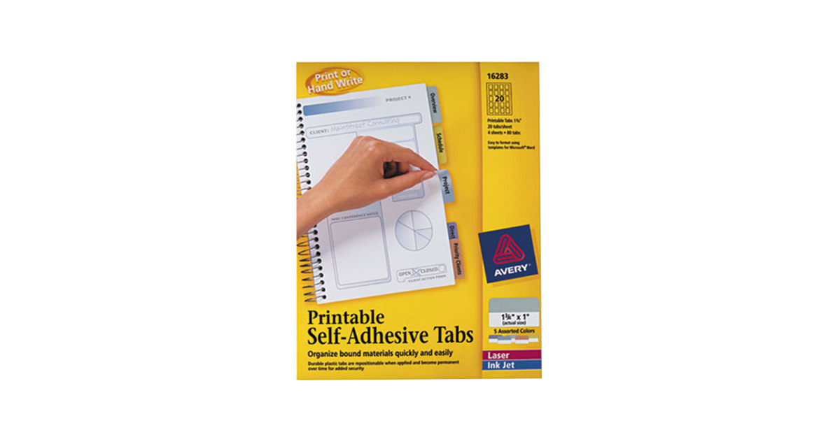 picture relating to Printable Self Adhesive Tabs called Avery 16283 1 3/4\