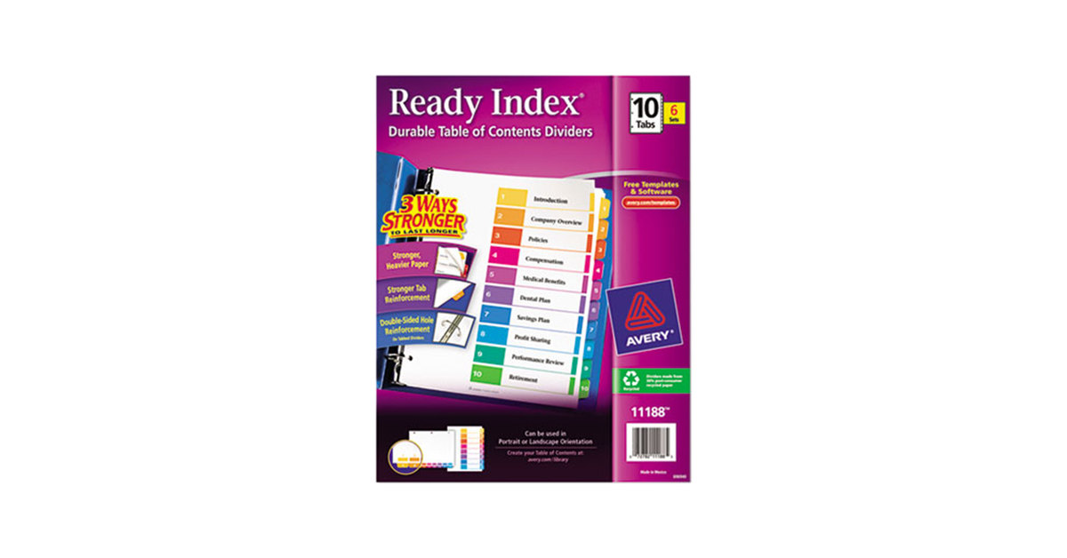 Avery 11188 Ready Index 10 Tab Multi Color Table Of Contents Divider