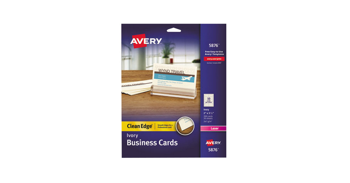 Avery 5876 2 X 3 12 Uncoated Ivory Clean Edge Business Cards