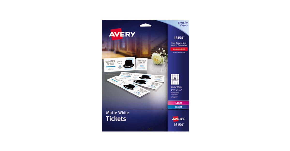 image about Printable Tickets With Tear Away Stubs called Avery 16154 1 3/4\