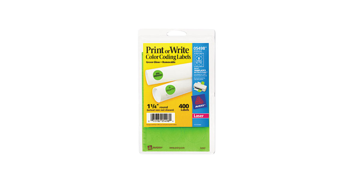 Avery 5498 1 4 Neon Green Round Removable Write On Printable Labels