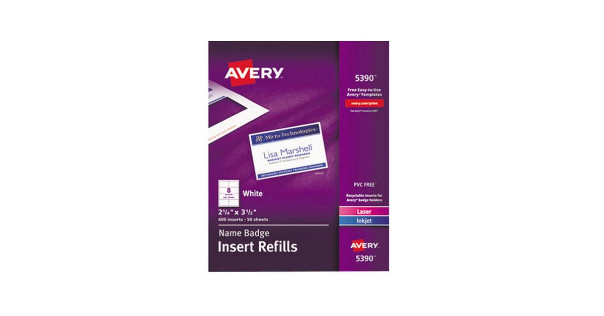 Avery 5390 2 14 X 3 12 White Badge Holder Laser Inkjet Insert