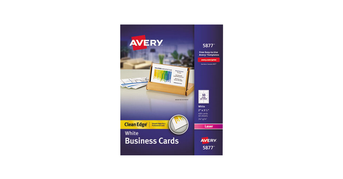 Avery 5877 2 X 3 12 Uncoated White Clean Edge Business Cards