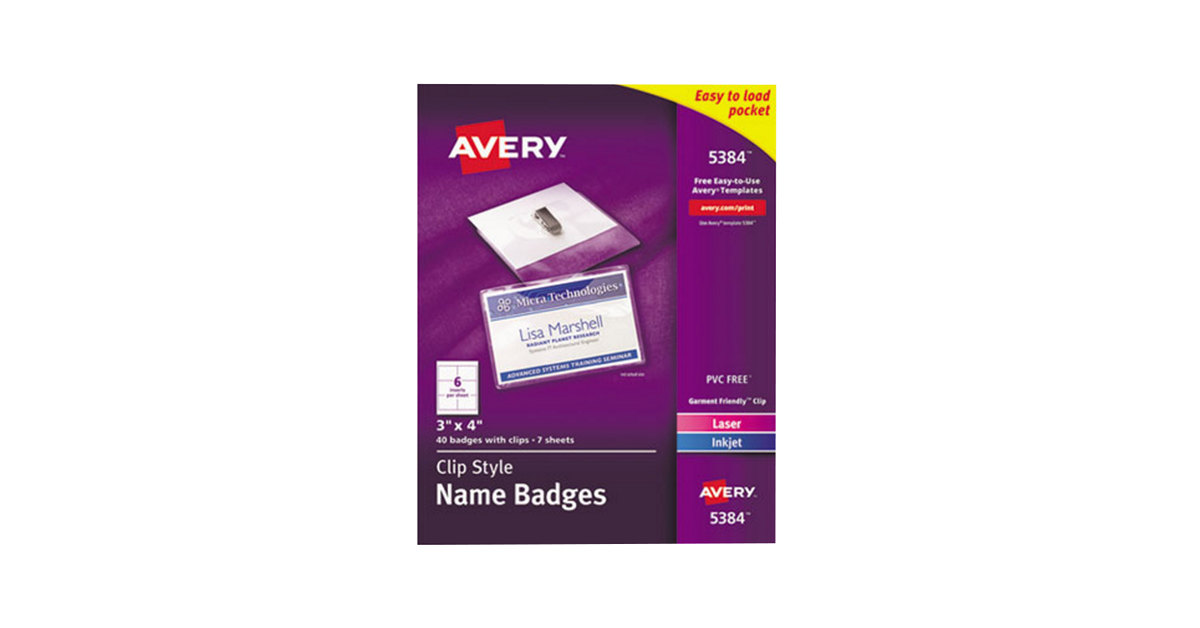 Avery 5384 3 X 4 White Top Loading Garment Friendly Clip Style