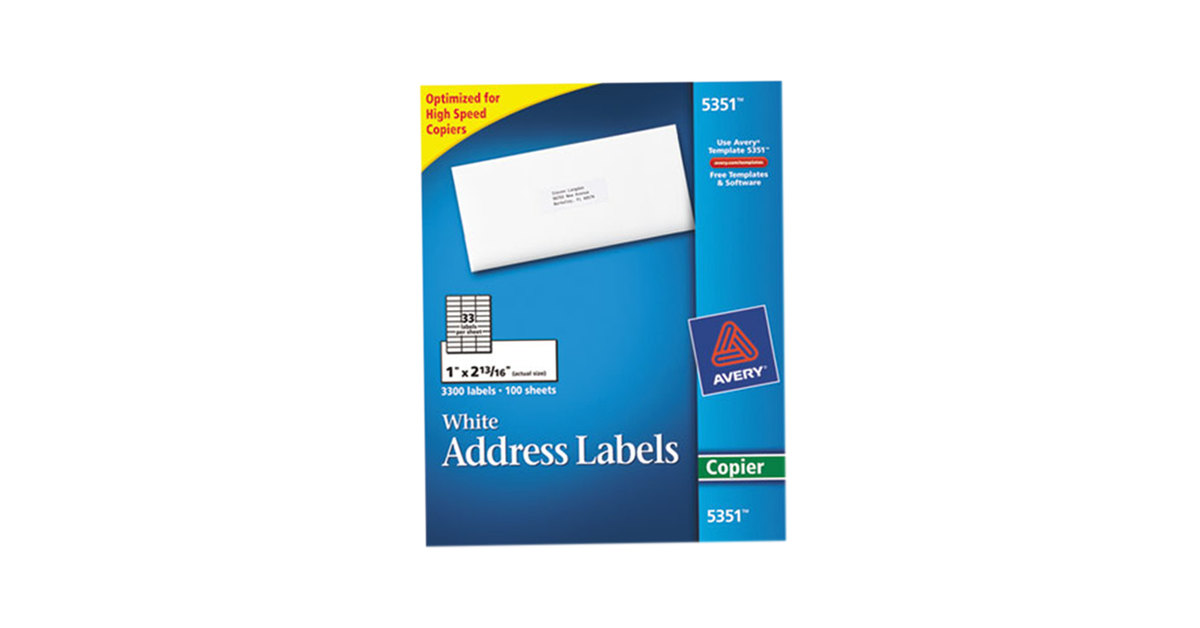Avery 5351 1 X 2 1316 White Copier Mailing Address Labels 3300