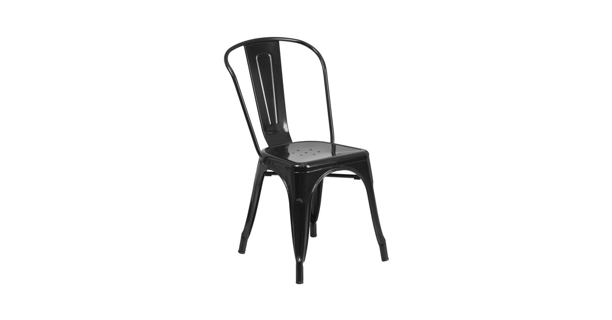 Terrific Flash Furniture Ch 31230 Bk Gg Black Stackable Galvanized Steel Chair With Vertical Slat Back And Drain Hole Seat Unemploymentrelief Wooden Chair Designs For Living Room Unemploymentrelieforg