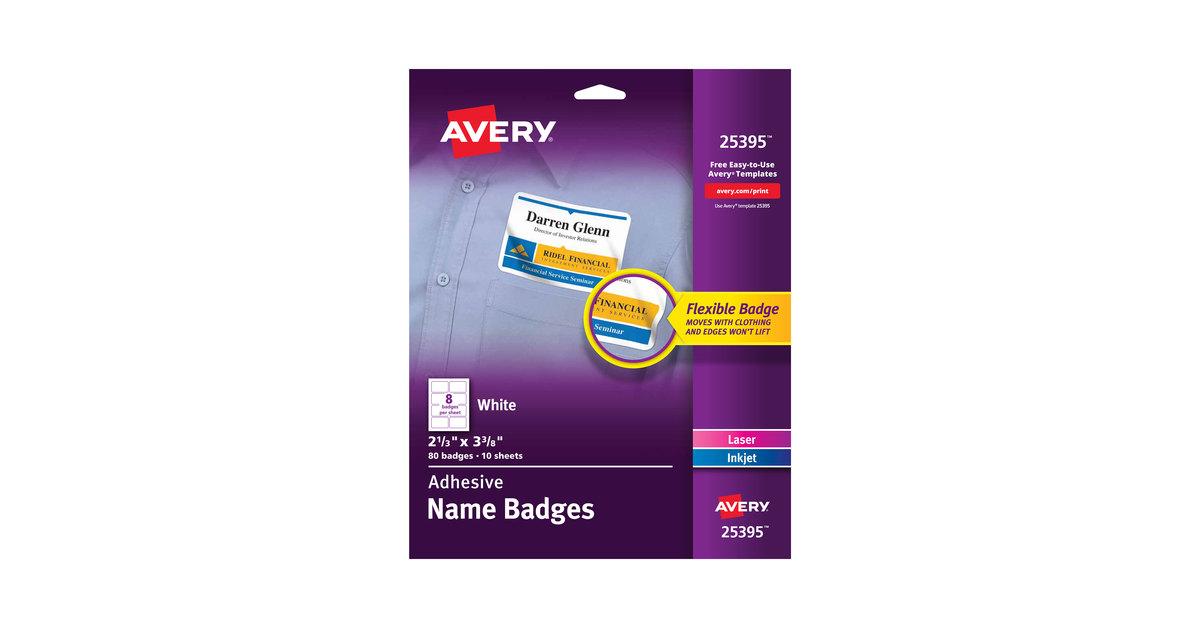 avery 25395 2 1 3 x 3 3 8 white rectangle adhesive name badges
