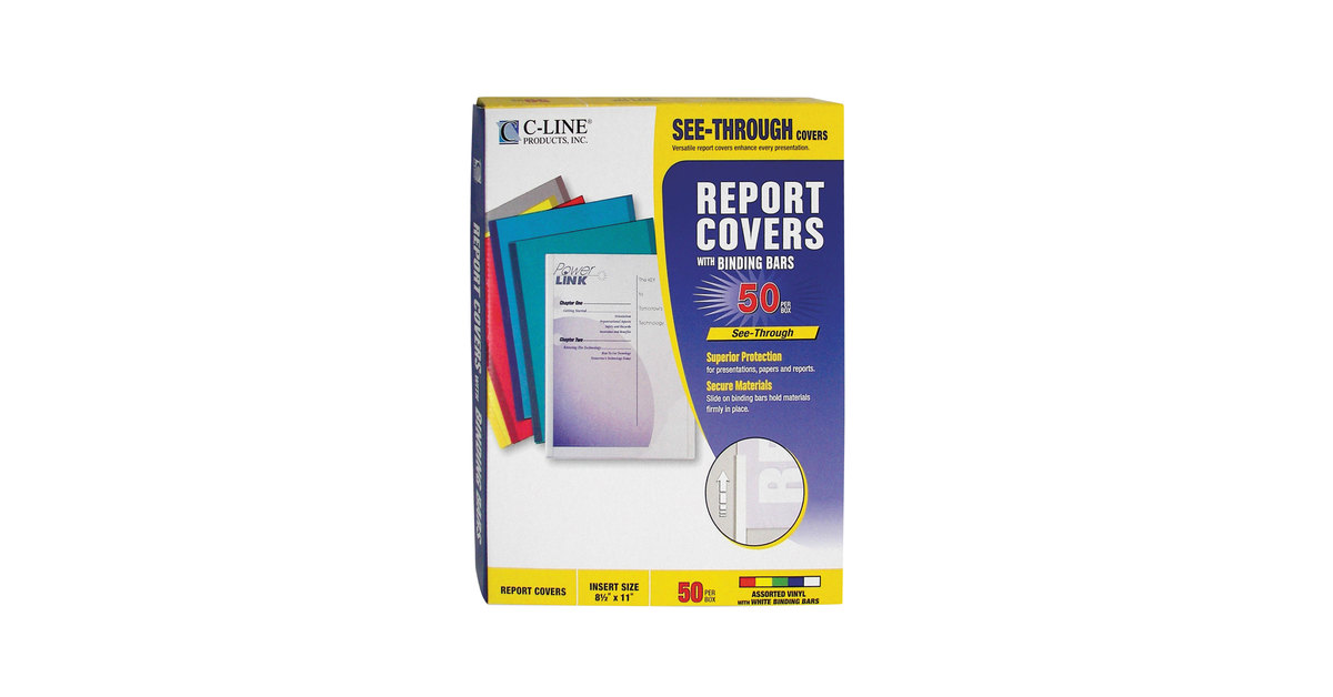 50 Covers C-line Vinyl Report Covers with Binding Bars CLI32550 11 x 8 1//2