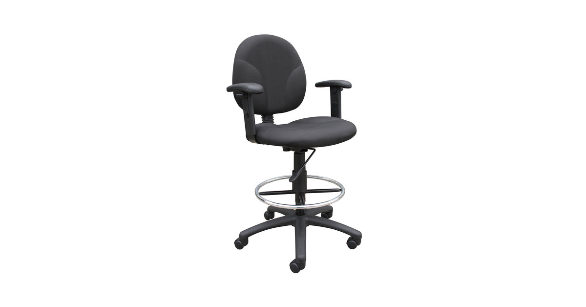 Excellent Boss B1691 Bk Black Fabric Drafting Stool With Adjustable Arms And Footring Dailytribune Chair Design For Home Dailytribuneorg