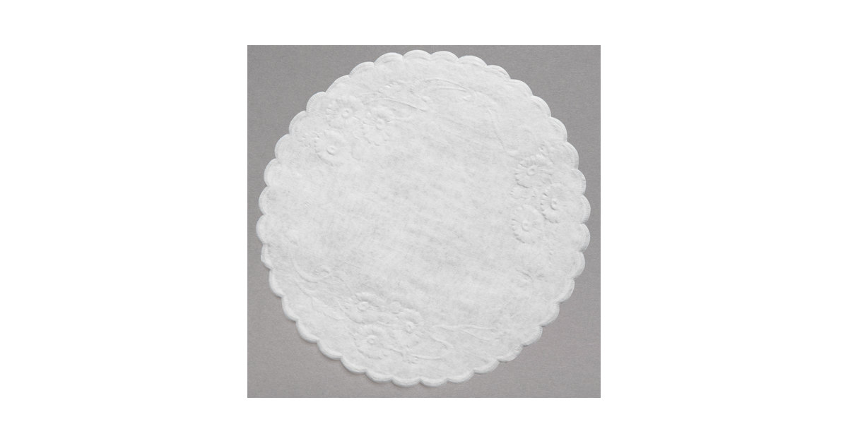 5 White Floral Linen Paper Doilies 1000Case