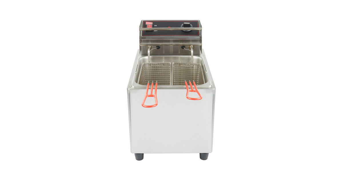 cecilware el25 stainless steel electric commercial countertop deep fryer with 15 lb fry tank 240v 3200w - Outdoor Deep Fryer