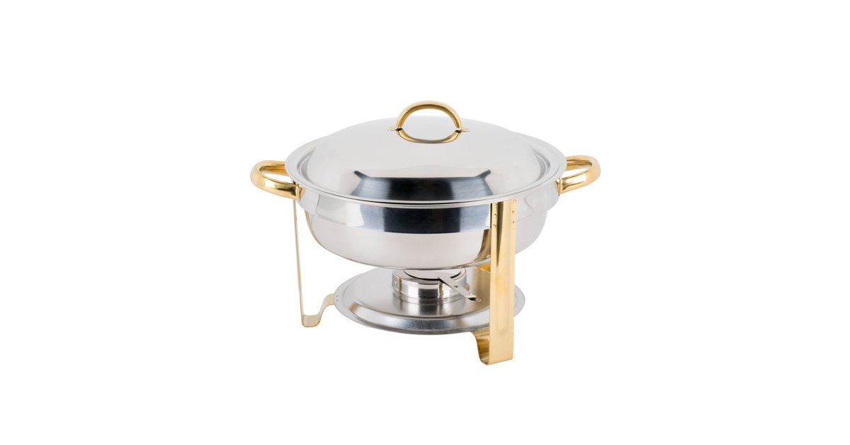 Choice 4 Qt Round Chafer With Gold Accents Webstaurantstore
