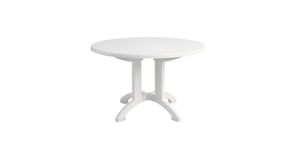 Grosfillex US243104 Aquaba 48 inch White Round Resin Pedestal Outdoor Table - Outdoor Restaurant Tables Restaurant Patio Tables