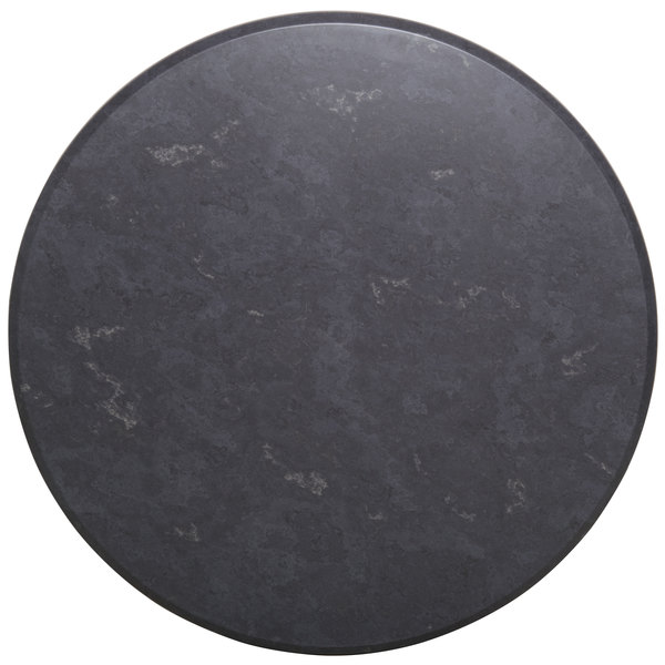 "BFM Seating GS30R SoHo 30"" Round Outdoor / Indoor Tabletop - Gray Slate"