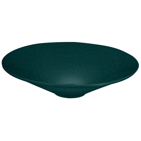 Tablecraft CW13090HGNS 4.5 Qt. Hunter Green with White Speckle Cast Aluminum Round Bowl with Rings