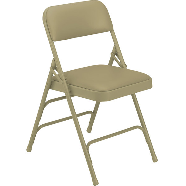 National Public Seating 1301 Beige Metal Folding Chair With 1 1/4 Inch  French Beige