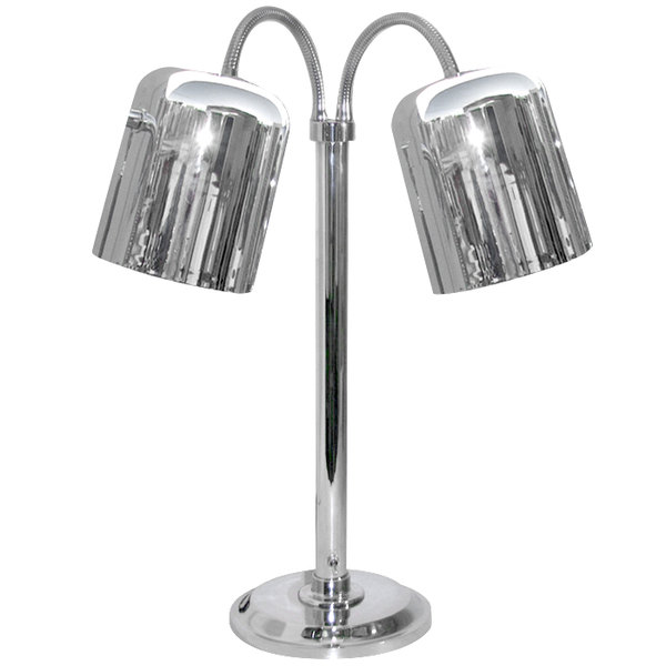 Hanson Brass DLM/700/ST Two Lamp Stainless Steel Freestanding Heat Lamp with Dual Bulbs and 700 Series Shades