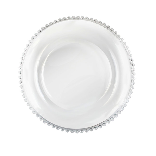 "The Jay Companies 13"" Round Clear Beaded Rim Glass Charger Plate"