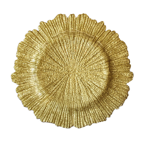 "The Jay Companies 13"" Round Reef Gold Glass Charger Plate"