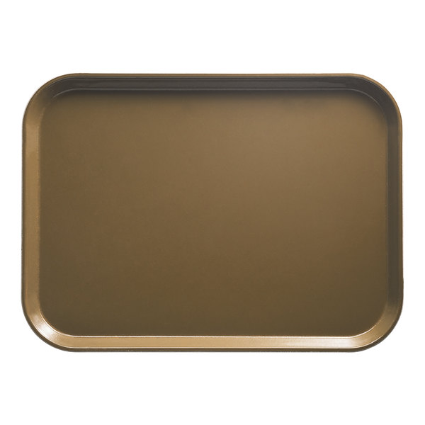 "Cambro 3343513 13"" x 17"" (33 x 43 cm) Rectangular Metric Bay Leaf Brown Fiberglass Camtray - 12/Case"