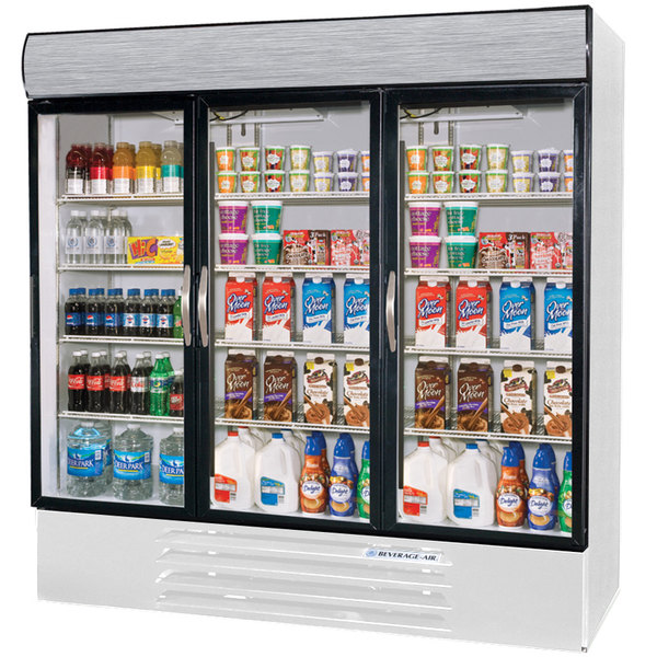 "Beverage Air MMR72-1-W-LED Marketmax 75"" Three Section Glass Door White Merchandising Refrigerator with LED Lighting - 72 Cu. Ft."