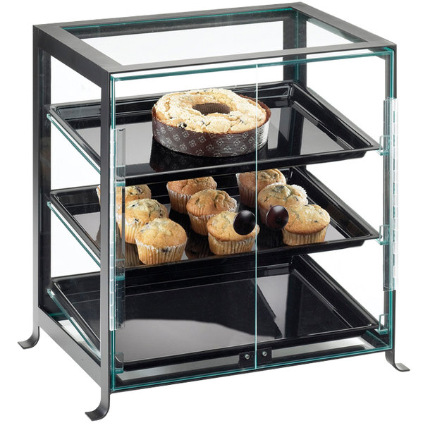 "Cal-Mil 1575-S-13 Soho Three Tier Black Display Case with Front Doors - 21 1/4"" x 15 3/4"" x 20 3/4"""