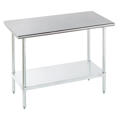 "Advance Tabco SLAG-304-X 30"" x 48"" 16 Gauge Stainless Steel Work Table with Stainless Steel Undershelf"