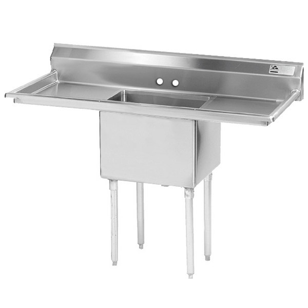 Advance Tabco FE-1-2424-24RL One Compartment Stainless Steel Commercial Sink with Two Drainboards - 72""