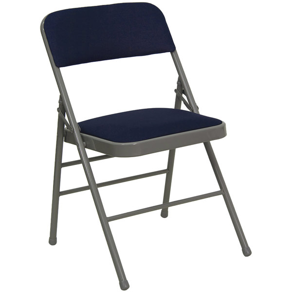 "Flash Furniture HA-MC309AF-NVY-GG Navy Blue Metal Folding Chair with 1"" Padded Fabric Seat"