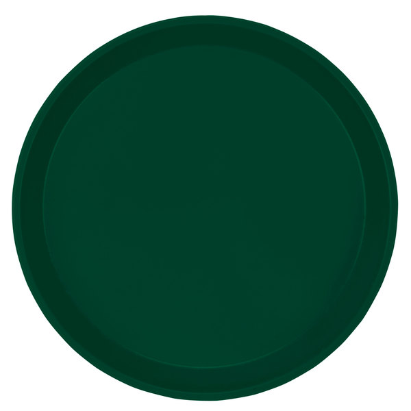 "Cambro 1550119 16"" Low Profile Round Sherwood Green Fiberglass Camtray - 12/Case"