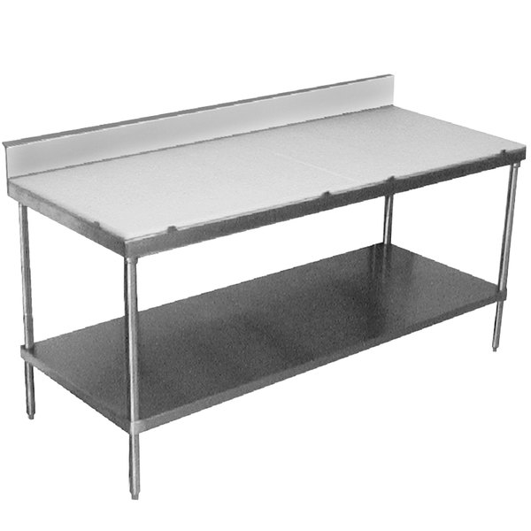 "Advance Tabco SPS-307 Poly Top Work Table 30"" x 84"" with Undershelf and 6"" Backsplash"