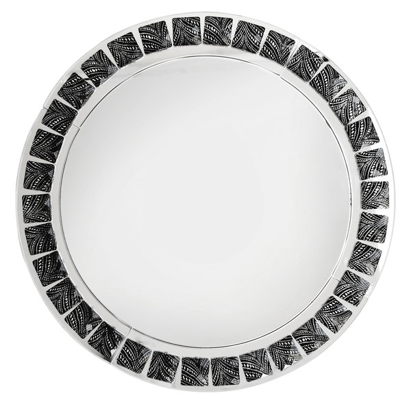 "The Jay Companies 13"" Round Black and White Beaded Mirror Glass Charger Plate"