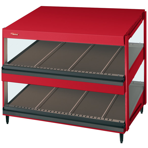 "Hatco GRSDS-30D Warm Red Glo-Ray 30"" Slanted Double Shelf Merchandiser - 120V"