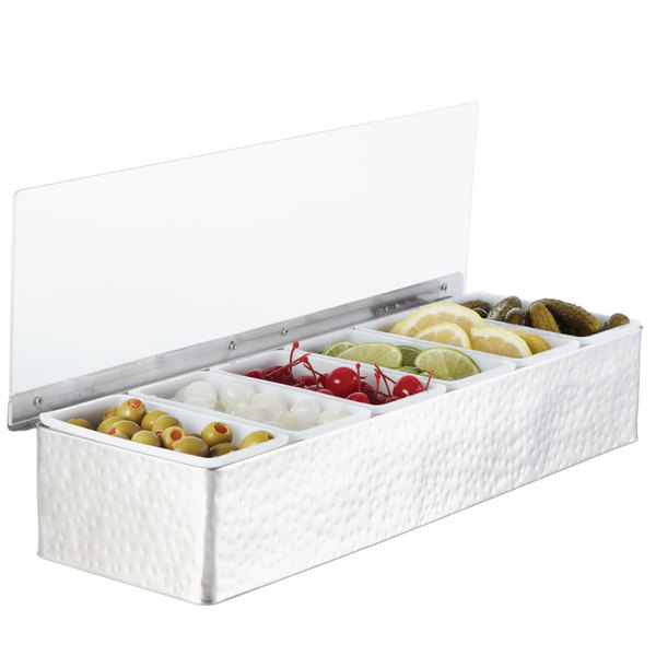 American Metalcraft HMCD6 6-Compartment Hammered Condiment Holder