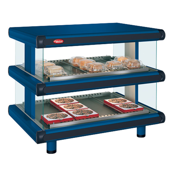 "Hatco GR2SDH-60D Navy Blue Glo-Ray Designer 60"" Horizontal Double Shelf Merchandiser - 120/208V"