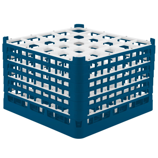 "Vollrath 52738 Signature Full-Size Royal Blue 25-Compartment 11 3/8"" XXXX-Tall Glass Rack"