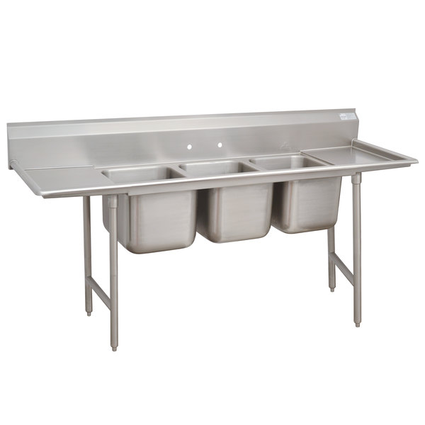 Advance Tabco 93-83-60-24RL Regaline Three Compartment Stainless Steel Sink with Two Drainboards - 115""