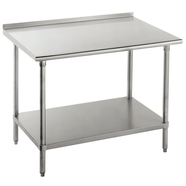 "Advance Tabco FLG-367 36"" x 84"" 14 Gauge Stainless Steel Commercial Work Table with Undershelf and 1 1/2"" Backsplash"