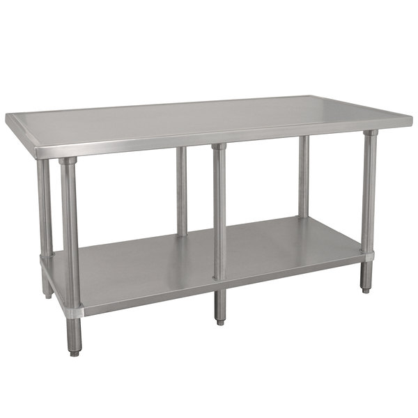 "Advance Tabco VLG-3612 36"" x 144"" 14 Gauge Stainless Steel Work Table with Galvanized Undershelf"