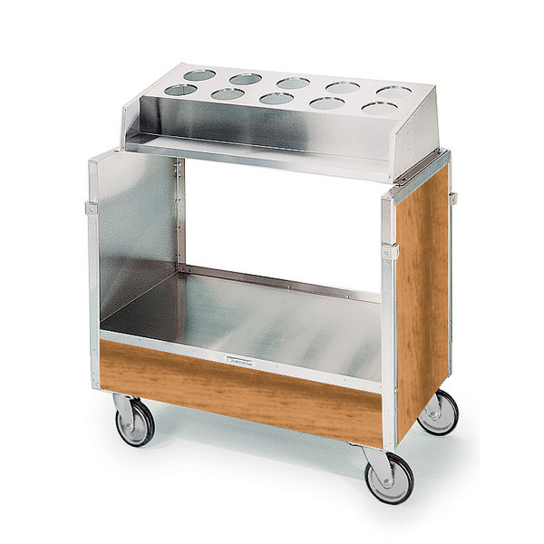 "Lakeside 603 Stainless Steel Silverware / Tray Cart with 10 Hole Flatware Bin and Light Maple Finish - 22 1/4"" x 36 1/4"" x 39 3/4"""